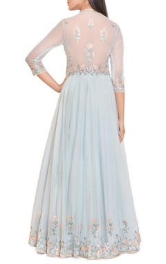 Icy blue floral mirror work embroidered gown