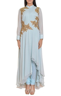 Icy blue & gold floral embroidered tunic