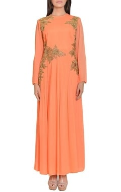Peach & gold floral embroidered maxi dress