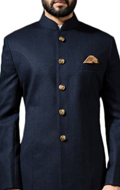 Midnight blue sherwani with ivory linen trousers