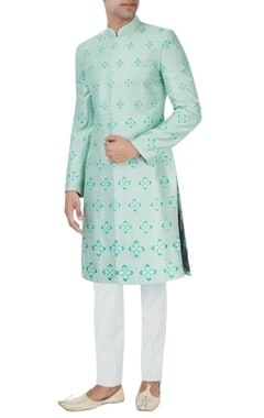 SS HOMME- Sarah & Sandeep Mint green embroidered sherwani set
