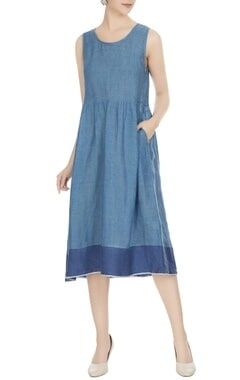 EKA Blue linen gathered midi dress
