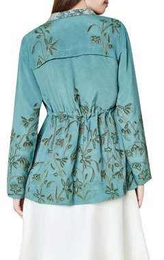 Sage green silk hand embroidered parka jacket