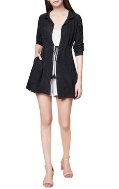 Black silk hand embroidered parka jacket