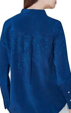 Blue silk hand embroidered shirt