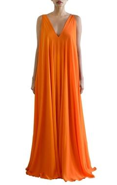 orange flared maxi dress