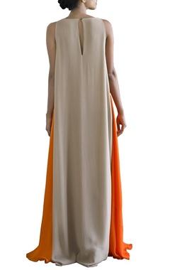 Orange and sandstone color blocked V-neck dress