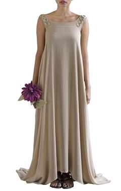 sandstone embellished cowl dress