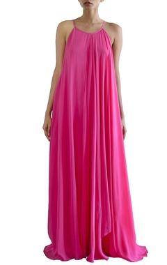 bubblegum pink flared maxi dress