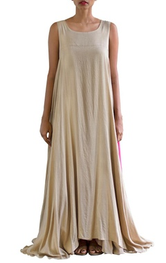 sandstone and pink color blocked maxi dress