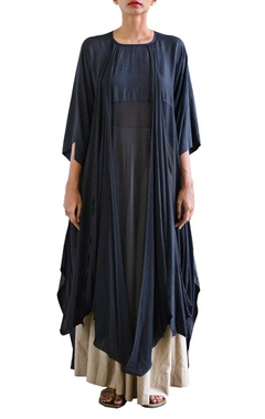 black draped tunic with wide legged trousers