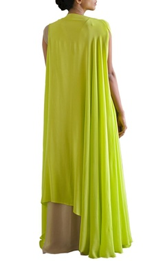sandstone shift dress with lime green jacket