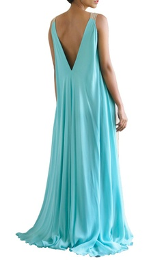 sandstone and sky blue color blocked maxi dress