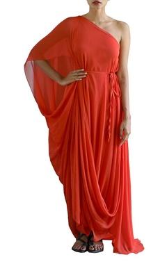 Scarlet red one off shoulder dress