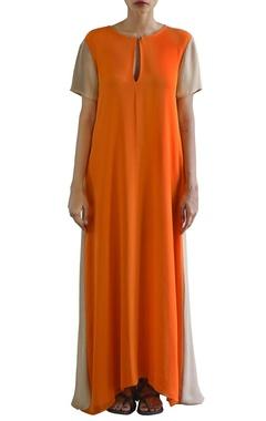 sandstone and orange color blocked dress