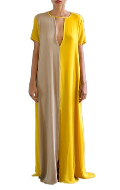 canary yellow and sandstone color blocked shift dress