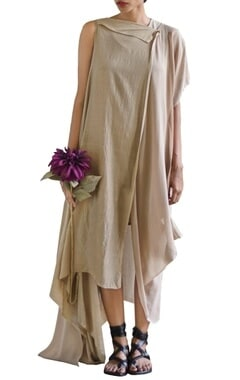 sandstone one sleeve draped dress