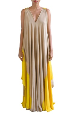 canary yellow and sandstone color layered shift dress