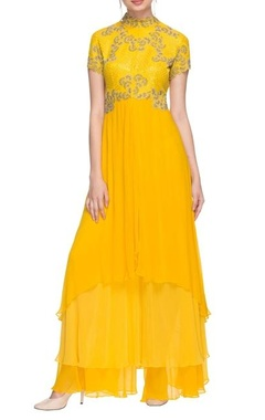 Sunflower yellow layered kurta with palazzos