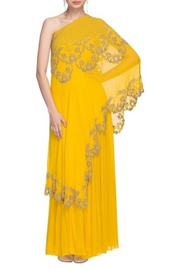 sunflower yellow one shoulder kurta & skirt