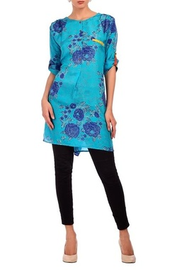 Turquoise & deep blue floral printed tunic
