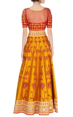 red & yellow embroidered lehenga