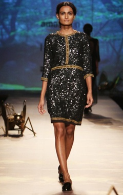black sequinned & embroidered dress