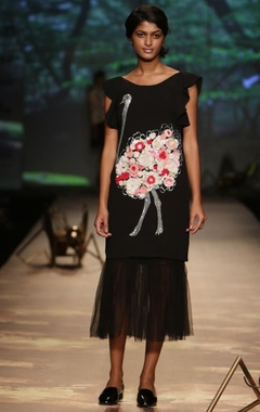 Black ostrich applique dress with underskirt