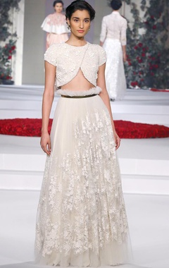 ivory embroidered lehenga with matching blouse