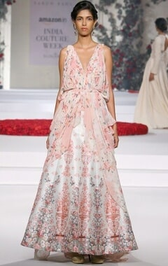 Ivory and pink floral printed gown