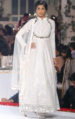 Ivory satin embroidered anarkali