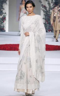 ivory embellished sari