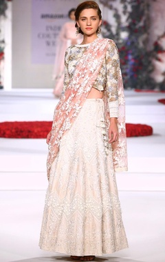 Ivory, pale blue and powder pink embroidered lehenga