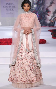 Ivory and pale pink embroidered lehenga set