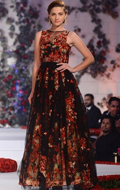 Black net gown with floral printed skirt