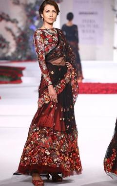 Floral embroideried sari lehenga