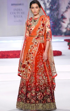red ombre floral embroidered lehenga