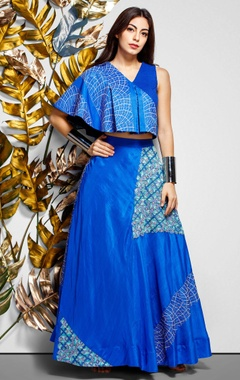 blue pleated top & maxi skirt