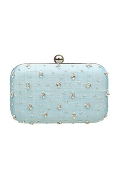 Blue zardosi embroidered box clutch