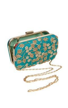 Green embroidered box clutch