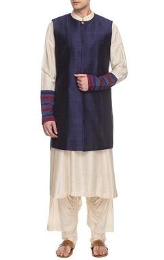 white & blue bandi kurta set