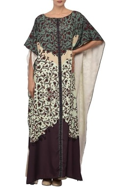 White & violet printed kaftan dress