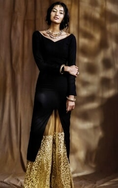 Black kurta with beige embroidered palazzos
