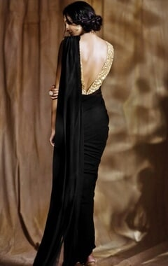 Black sari gown with beige embroidered blouse