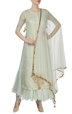 Yashodhara Light green kurta set featuring embroidered sequined motif