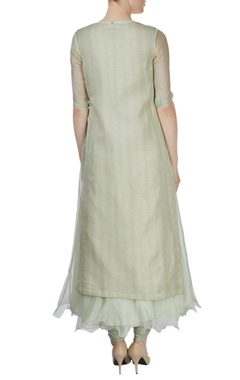 Light green kurta set featuring embroidered sequined motif