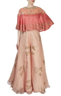 Yashodhara Light pink printed palazzo with a coral cape