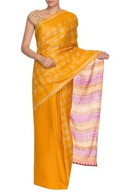 yellow & purple lotus pattern handwoven sari