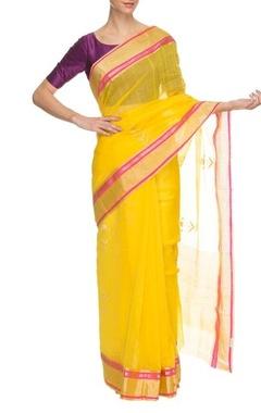 yellow & raani floral handwoven sari