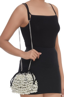 Pearl Adorned Bucket Sling cum potli bag